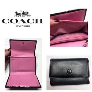 COACH black with pink interior tri-fold wallet